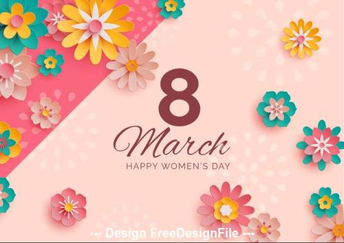 Flower decoration background womens day greeting card vector