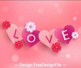 Flower decoration love card vector
