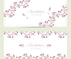 Flower vine background invitation card vector