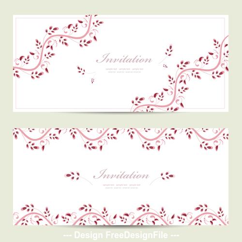 Flower vine background invitation card vector