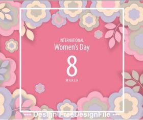 Flowers background woman day greeting card vector