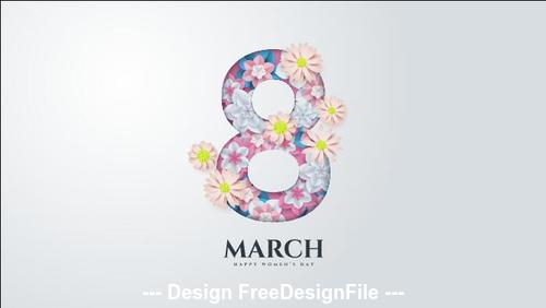Flowers composition on white background Womens day greeting card vector