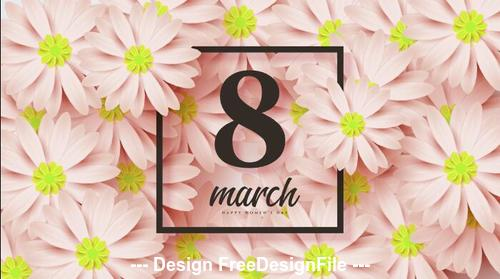 Flowers greeting card womens day vector
