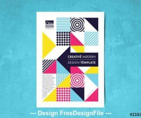 Flyer layout with colorful geometric elements vector
