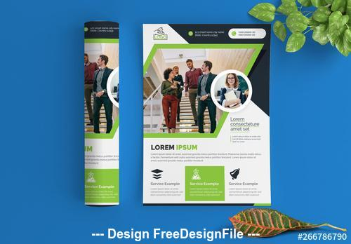 Flyer layout with green elements vector