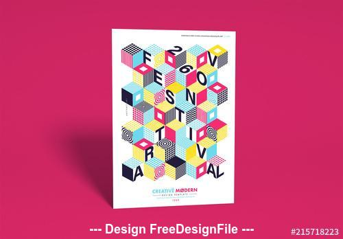 Flyer layout with isometric cubes vector