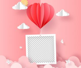 Flying heart shape valentine's day greeting card vector