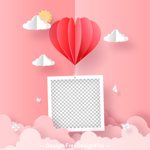 Flying heart shape valentines day greeting card vector