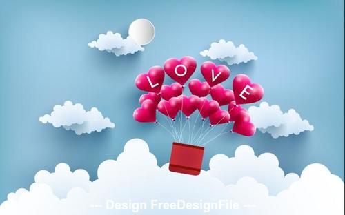 Flying love balloon vector