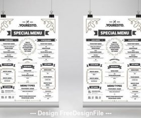 Food menu poster with illustrative elements vector
