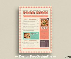 Food menu with gingham elements vector