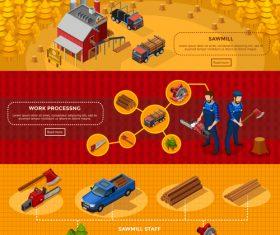 Forest farm lumberjackand vector