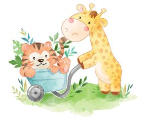 Funny animals drawing cartoon vector