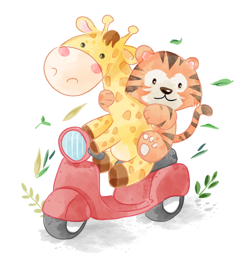Funny cartoon illustration animal riding motorcycle vector