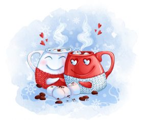 Funny couple cup cartoon illustration vector