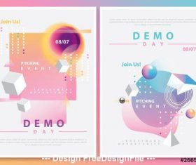 Futuristic colorful gradient compositions vector