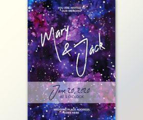 Galaxy background decorative wedding watercolor vector
