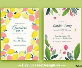 Garden party invitation with lemon and plant vector