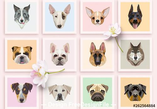 Geometric dog icons vector