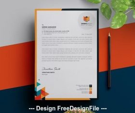 Geometric multicolored letterhead vector