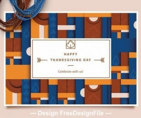 Geometric pattern thanksgiving card vector