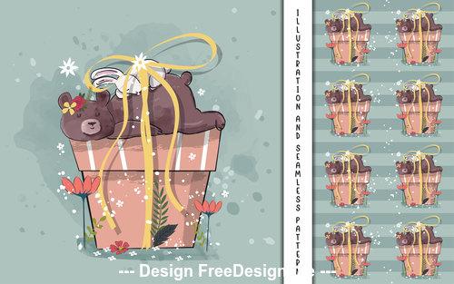 Gift bear cartoon illustration vector