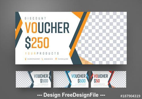 Gift voucher set with colorful ribbons vector