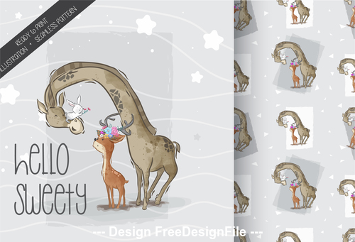 Giraffe and fawn background cartoon decorative pattern vector