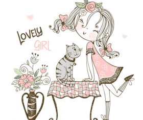 Girl and beloved pet cartoon illustration vector