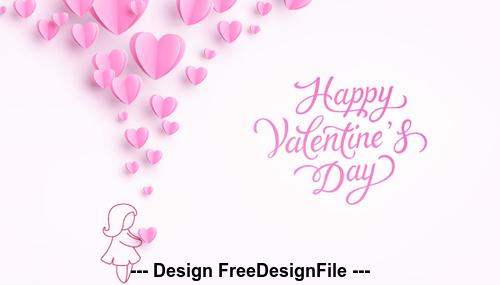 Girl and heart shape valentine card vector