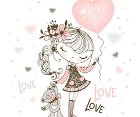 Girl holding love balloon cartoon illustration vector