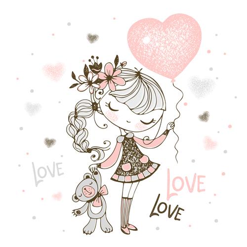 Girl holding love balloon cartoon illustration vector