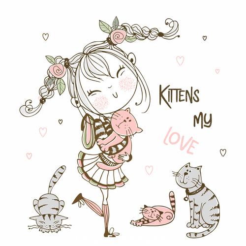 Girl like cat cartoon illustration vector