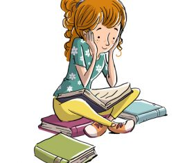 Girl reading book illustration vector