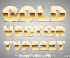 Gold 3D font typeset vector