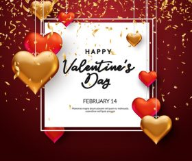 Golden flying confetti valentine greeting card vector