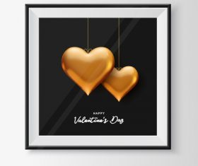 Golden heart valentines day greeting card vector