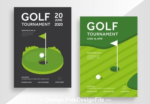 Golf tournament poster with illustrative vector