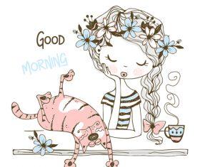 Good morning cartoon illustration vector