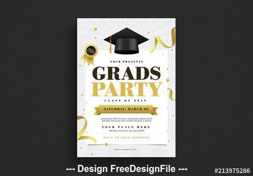 Graduation party flyer vector