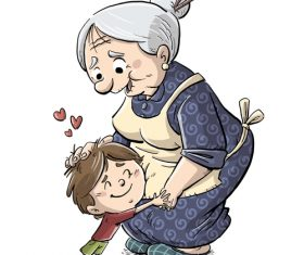 Granny and children illustration vector