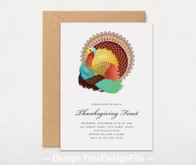 Graphic thanksgiving fest invitation with turkey vector
