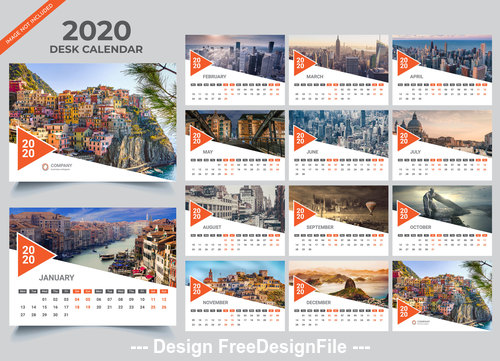 Gray 2020 desk calendar vector template 01