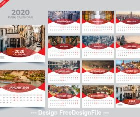 Gray 2020 desk calendar vector template 02