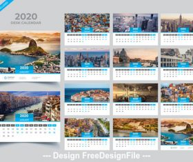 Gray with blue 2020 Desk calendar template vector
