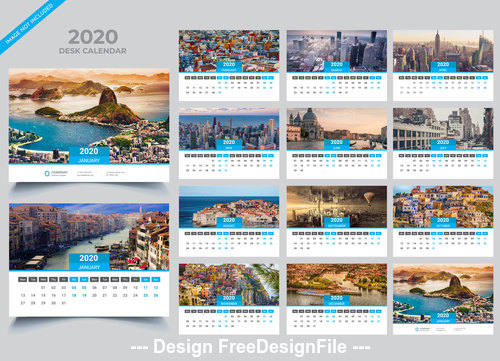 Gray with blue 2020 Desk calendar template vector