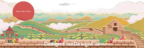 Great wall of china landscape illustration vector