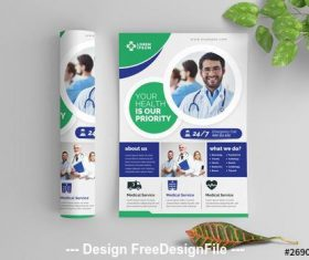 Green and blue medical flyer vector