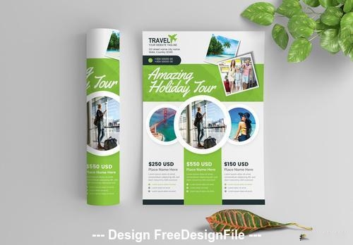 Green business flyer with circular photo elements vector