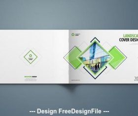 Green landscape cover layout vector